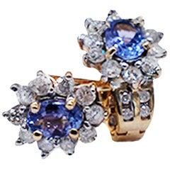 Tanzanite and Diamond Huggy Halo Earrings, 2.15 Carat