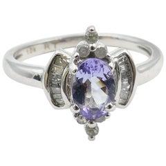 Tanzanite and Diamond Marquise 18 Carat White Gold Ring