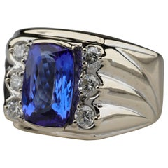 Tanzanite and Diamond Men's Ring Memphis Design Movement