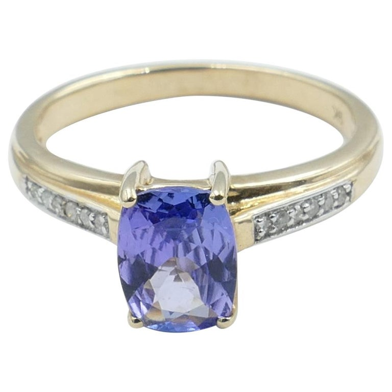 Tanzanite and Diamond Modern or Dress Ring Set in Yellow and White Gold For Sale