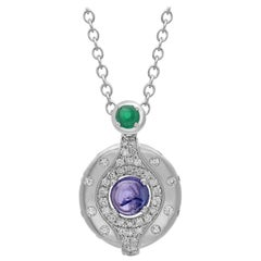 Tanzanite and Diamond Pendant in 18 Karat White Gold