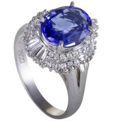 Tanzanite and Diamond Platinum Cocktail Ring