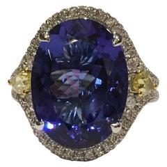 Tanzanite and Diamond Ring Set in 14 Karat White Gold