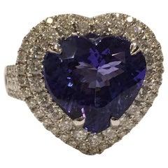 Tanzanite and Diamond Set in 14 Karat White Gold Ring