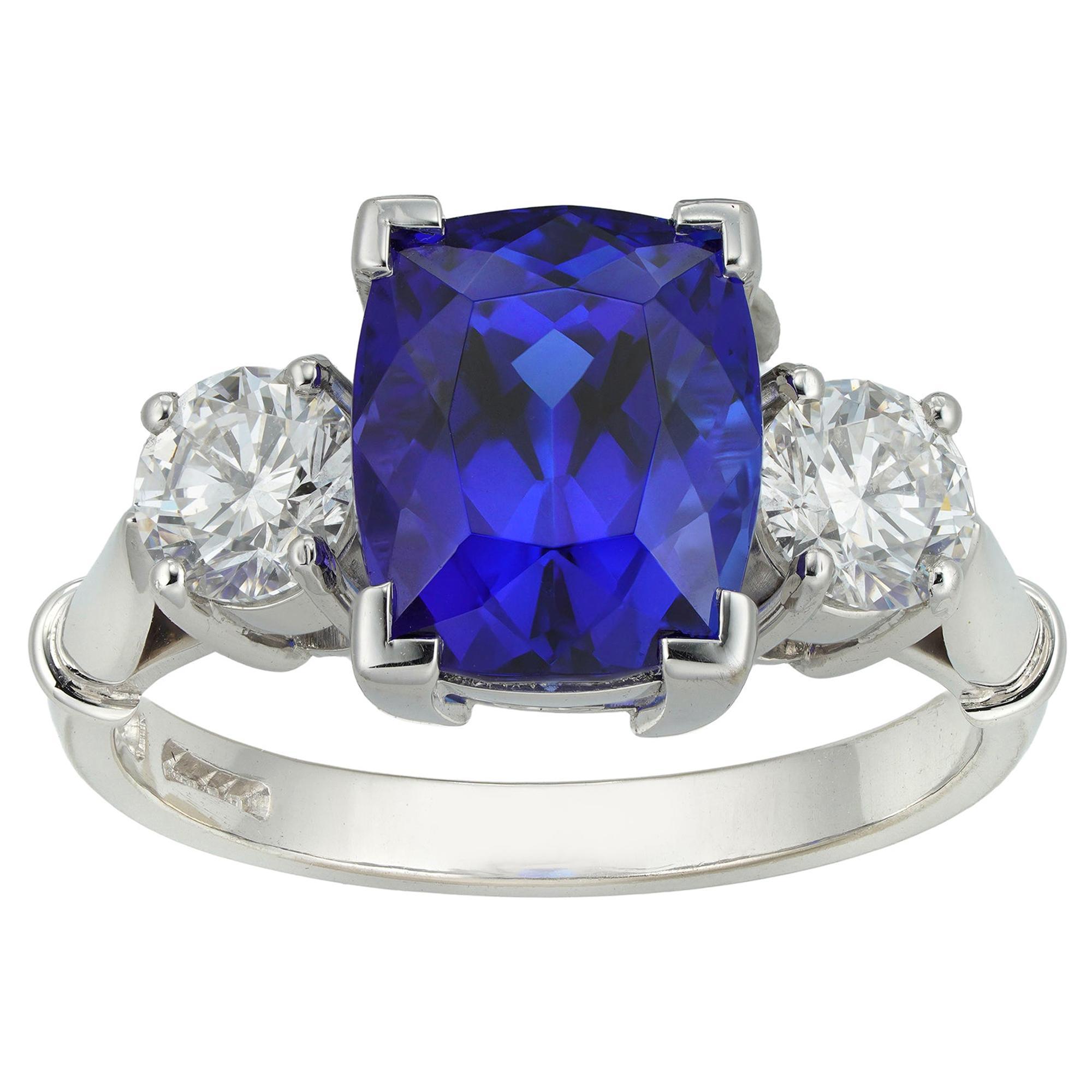Tanzanite and Diamond Three-Stone Ring