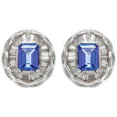Tanzanite and Diamonds Clip-On 18 Karat Earrings