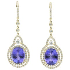 Tanzanite and Diamonds Dangle Earrings 13.13 Carats 18K Yellow Gold
