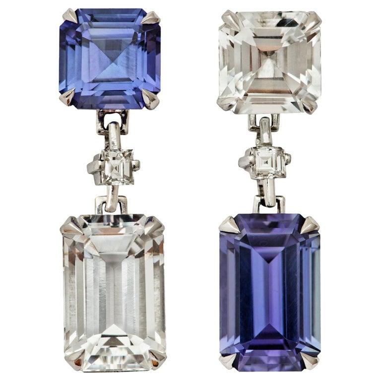 Tanzanite and Goshenite Diamond Platinum Earrings For Sale