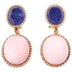 Tanzanite and Pink Opal 18 Karat Rose Gold Earrings with Diamonds