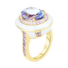 Tanzanite and Pink Sapphire Ceramic Enamel Gold Cocktail Ring