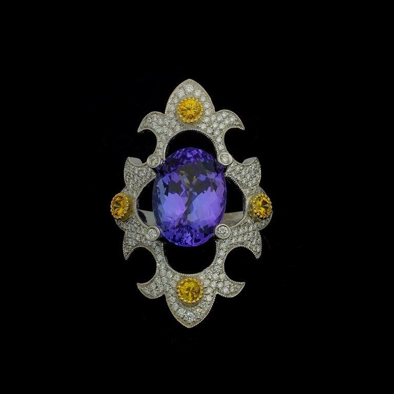 Mawenzi Princess Ring - 18kt White Gold, Tanzanite, Yellow Sapphires, & Diamonds For Sale 1
