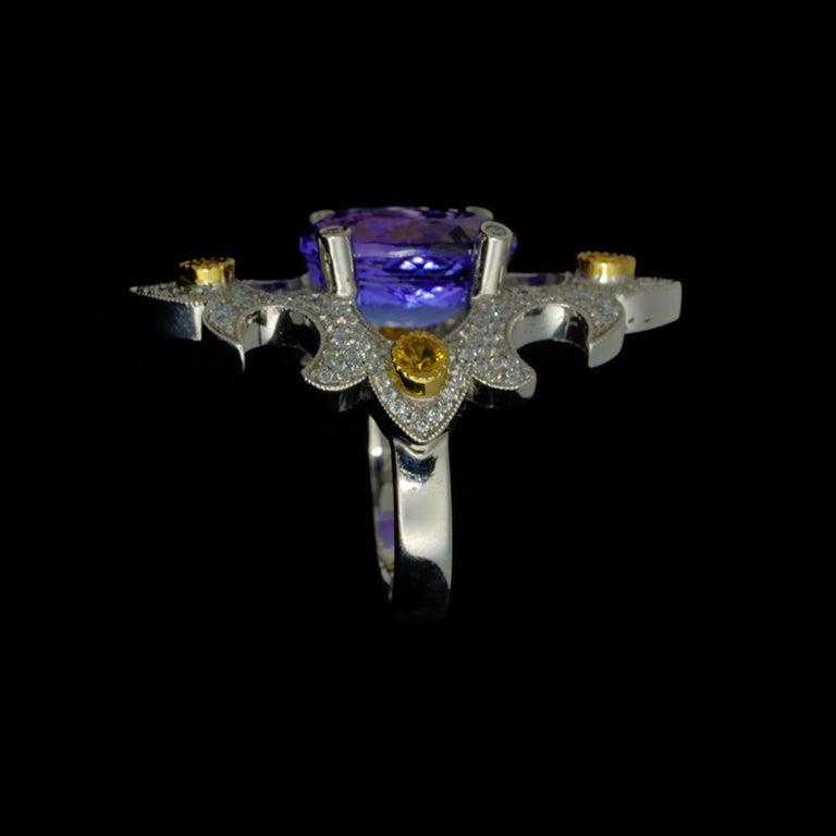 Mawenzi Princess Ring - 18kt White Gold, Tanzanite, Yellow Sapphires, & Diamonds For Sale 10
