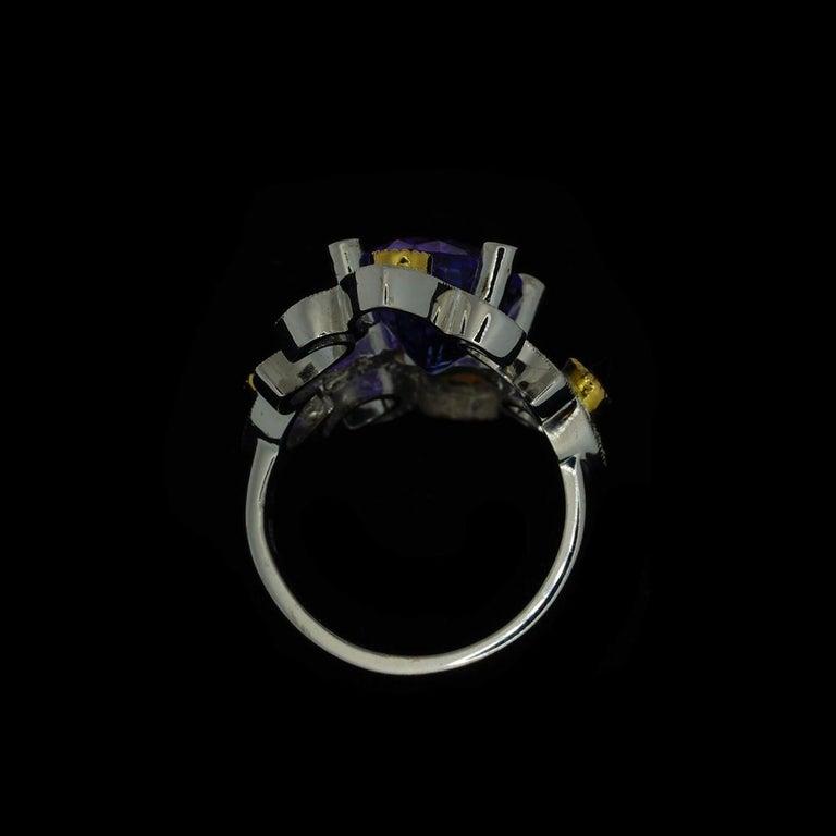 Mawenzi Princess Ring - 18kt White Gold, Tanzanite, Yellow Sapphires, & Diamonds For Sale 11