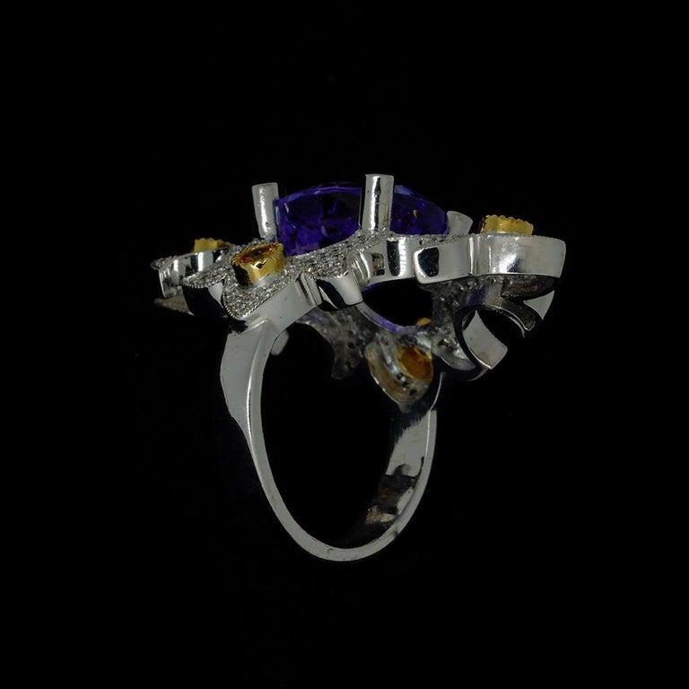 Mawenzi Princess Ring - 18kt White Gold, Tanzanite, Yellow Sapphires, & Diamonds For Sale 13