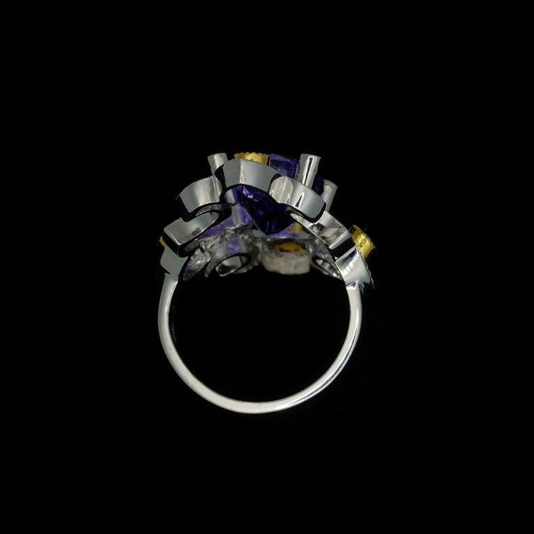 Mawenzi Princess Ring - 18kt White Gold, Tanzanite, Yellow Sapphires, & Diamonds For Sale 14