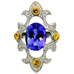 Tanzanite and Sapphire Mawenzi Princess Ring
