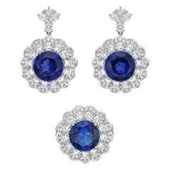 Tanzanite and White Diamond Ring & Earring Set in 18 Karat White Gold