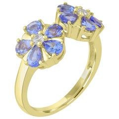 14K Gold-Plated Sterling Silver 3x4mm Pear Tanzanite Flower Cuff Ring