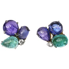 Tanzanite AquaMarine Cabochon Diamond Gold Earrings
