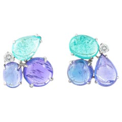 Tanzanite Aquamarine Cabochon Diamond Gold Earrings