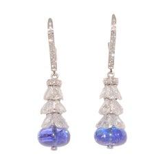 Tanzanite Bead and Rose Cut Diamond Pendant Earrings