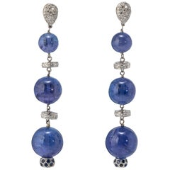 Tanzanite Beads and Diamond Dangle Earrings