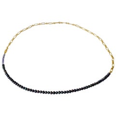 Tanzanite Black Pearl Gold Filled Chain Beaded Choker Necklace