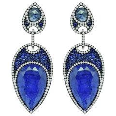 Tanzanite Blue Sapphire Diamond 18 Karat Gold Earrings