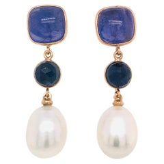 Tanzanite Blue Sapphires and Natural Pearls Rose Gold Chandelier Earrings