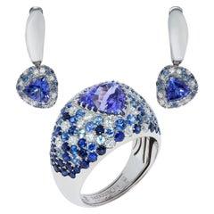 Tanzanite Blue Sapphires Diamonds White 18 Karat Gold Riviera Suite