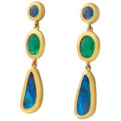 Tanzanite, Boulder Opal and Emerald Drop Earrings