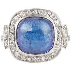 Tanzanite Cabochon 5.96 Carat Diamonds 18 Carat White Gold Ring