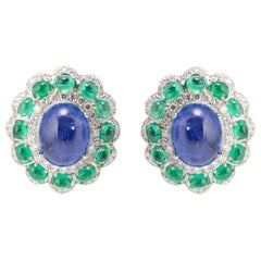 Tanzanite Cabochon and Emerald Cabochon Stud Earrings