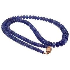 Tanzanite Cabochon Beaded Necklace 14 Karat Clasp