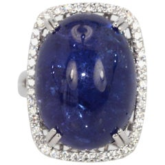 Tanzanite Cabochon Diamond Cocktail Ring 18 Karat Gold Setting