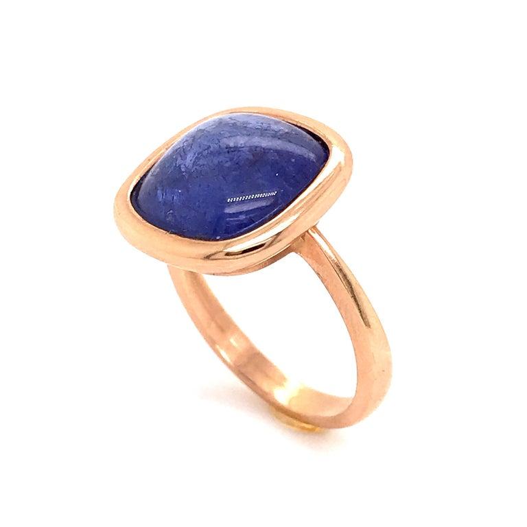 Artisan Tanzanite Cabochon Shape on Rose Gold 18 Karat Fashion Ring For Sale