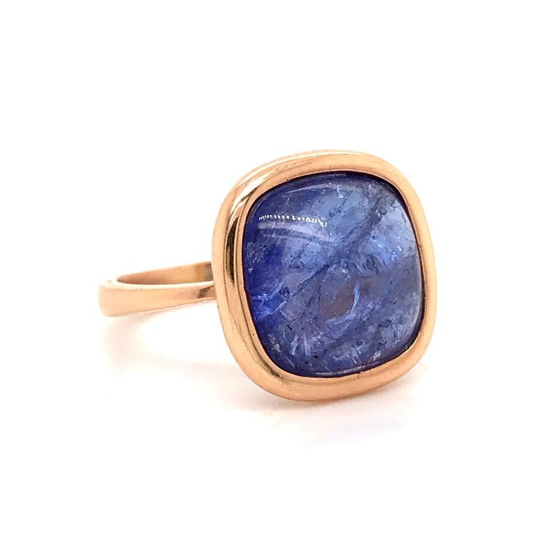Women's Tanzanite Cabochon Shape on Rose Gold 18 Karat Fashion Ring For Sale