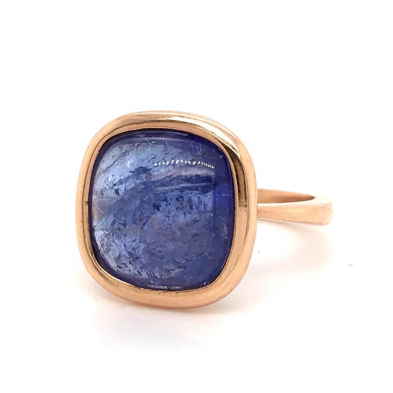 Tanzanite Cabochon Shape on Rose Gold 18 Karat Fashion Ring For Sale 1