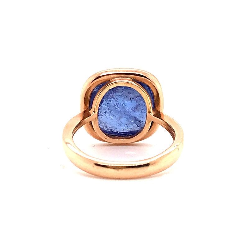 Tanzanite Cabochon Shape on Rose Gold 18 Karat Fashion Ring For Sale 2
