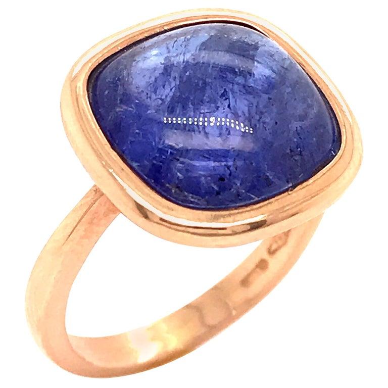 Tanzanite Cabochon Shape on Rose Gold 18 Karat Fashion Ring For Sale
