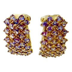 Tanzanite Checkerboard Cluster Earrings Yellow Gold