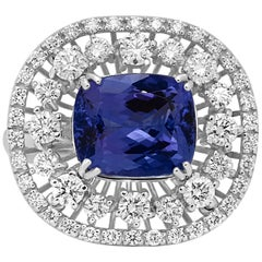 Tanzanite Cushion Diamond Double Halo White Gold Cocktail Fashion Big Look Ring