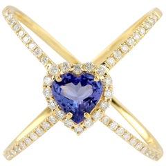 Tanzanite Diamond 14 Karat Gold Heart X-Ring