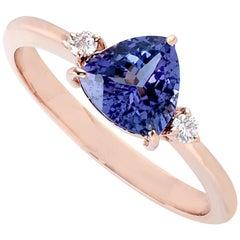 Tanzanite Diamond 14 Karat Rose Gold Ring