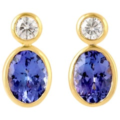 Tanzanite Diamond 18 Karat Gold Earrings