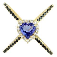 Tanzanite Diamond 18 Karat Gold Heart X Ring