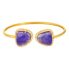 Tanzanite Diamond 18 Karat Gold Open Bangle Bracelet