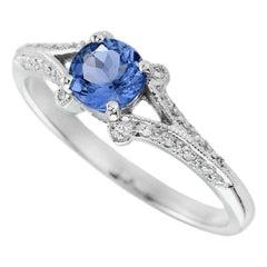 Tanzanite Diamond 18 Karat White Gold Ring