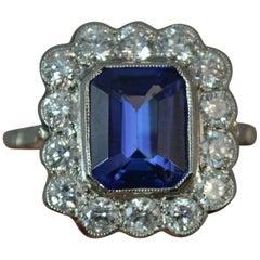 Tanzanite and Diamond 18 Carat White Gold Platinum Cluster Ring