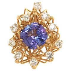 Tanzanite, Diamond and Gold Cocktail Ring
